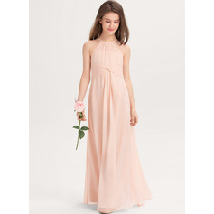 Scoop Neck Floor-Length Chiffon Junior Bridesmaid Dress With Ruffle (268236862)