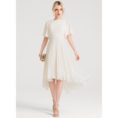 A-Line/Princess Scoop Neck Asymmetrical Chiffon Cocktail Dress With Pleated (016150211)