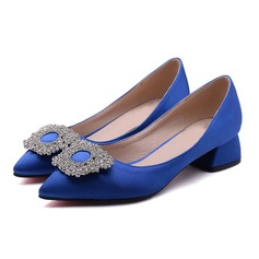 Women's Satin Low Heel Pumps With Rhinestone shoes