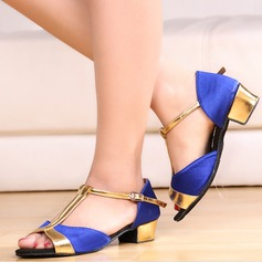 Women's Silk Sandals Latin With T-Strap Dance Shoes