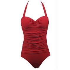 Elegant Solid Color Dot One-piece