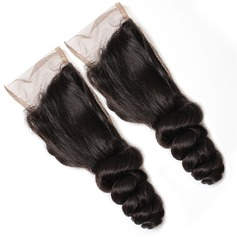 "5A 4""*4"" Loose Wavy Mid-Length Long Human Hair Closure (Sold in a single piece) 100g"