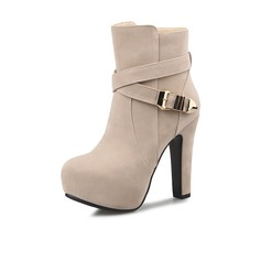 Women's Suede Chunky Heel Platform Ankle Boots With Buckle Zipper shoes (088101053)