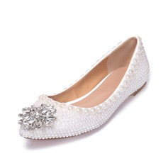 Women's Real Leather Flat Heel Closed Toe Flats With Imitation Pearl Crystal