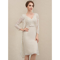 Sheath/Column V-neck Knee-Length Chiffon Lace Mother of the Bride Dress With Bow(s)