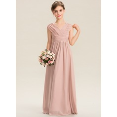 A-Line V-neck Floor-Length Chiffon Junior Bridesmaid Dress With Ruffle Bow(s) (009173305)
