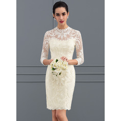 Sheath/Column High Neck Knee-Length Lace Wedding Dress (265193313)