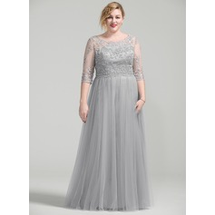 A-Line/Princess Scoop Neck Floor-Length Mother of the Bride Dress With Beading Appliques Lace Sequins