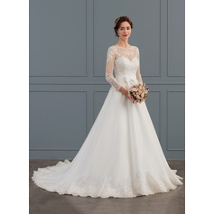 Ball-Gown/Princess Illusion Court Train Organza Wedding Dress With Bow(s)