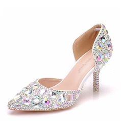 Women's Leatherette Spool Heel Closed Toe Pumps Sandals With Crystal Heel Crystal