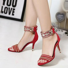 Women's Suede Stiletto Heel Sandals Peep Toe With Rhinestone Beading Braided Strap shoes (087111159)