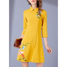 Polyester With Embroidery Above Knee Dress (199136784)