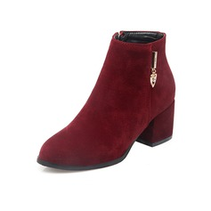 Suede Chunky Heel Ankle Boots With Zipper shoes