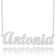 Custom Sterling Silver Name Necklace With Diamond (288213035)