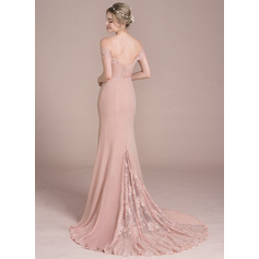 Trumpet/Mermaid Off-the-Shoulder Court Train Chiffon Lace Bridesmaid Dress With Beading Sequins (007104725)