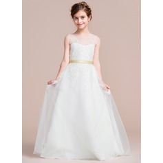 Ball Gown Floor-length Flower Girl Dress - Satin/Tulle Sleeveless Scoop Neck With Sash/Appliques/Bow(s) (Undetachable sash)