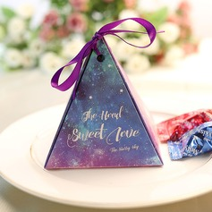 Pyramid Card Paper Favor Boxes With Ribbons