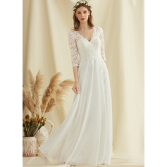 V-neck Floor-Length Chiffon Lace Wedding Dress (265251480)