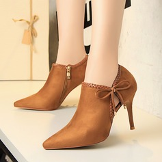 Women's Suede Stiletto Heel Pumps Closed Toe Ankle Boots With Applique shoes (085114784)