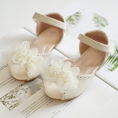 Jentas Titte Tå Leather flat Heel Flate sko Flower Girl Shoes med Velcro Blomst