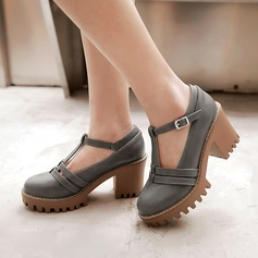 Women's Leatherette Chunky Heel Mary Jane With Buckle shoes