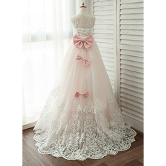 Ball Gown Court Train Flower Girl Dress - Satin/Tulle/Lace Sleeveless Scoop Neck With Lace/Beading/Bow(s)
