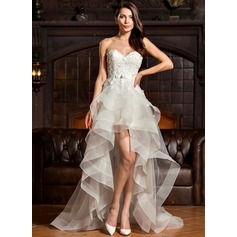 A-Line/Princess Sweetheart Asymmetrical Tulle Lace Wedding Dress With Beading Bow(s)