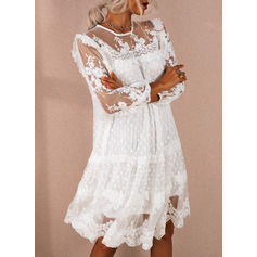 Lace Solid Shift Round Neck 3/4 Sleeves Midi Elegant Tunic Dresses (294254549)