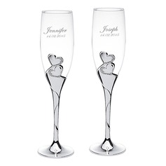 Personalized Double Hearts Glass/Aluminum Toasting Flutes