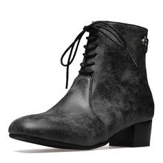 Femmes Similicuir Talon bas Bout fermé Bottes Bottines Bottes mi-mollets Martin bottes Bottes cavalières avec Dentelle chaussures