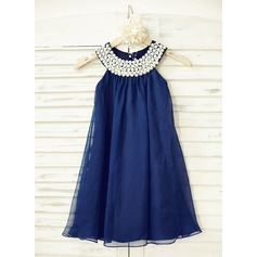 Empire Flower Girl Dress - Chiffon Sleeveless Scoop Neck With Beading