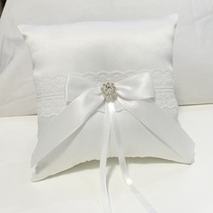 Elegant Ring Pillow in Cloth With Bow/Rhinestones/Lace