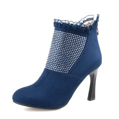Women's Suede Stiletto Heel Ankle Boots With Rhinestone shoes