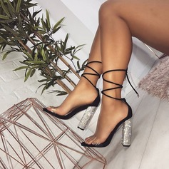 Women's Leatherette Chunky Heel Sandals Pumps With Lace-up shoes (087166121)