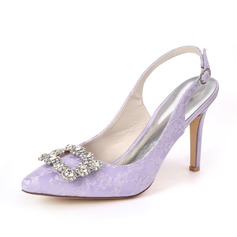 Women's Lace Satin Stiletto Heel Sandals With Rhinestone