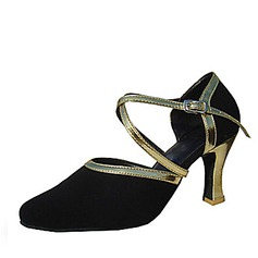 Women's Leatherette Nubuck Heels Pumps Ballroom With Ankle Strap Dance Shoes