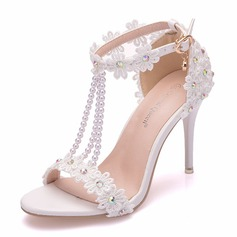 Women's Leatherette Stiletto Heel Peep Toe Platform Sandals With Beading Imitation Pearl Flower