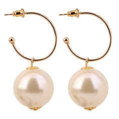 Beautiful Imitation Pearls Copper With Imitation Pearl Women's Fashion Earrings (Set of 2)