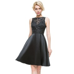 A-Line/Princess Scoop Neck Knee-Length Charmeuse Cocktail Dress