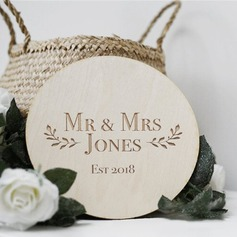 Classic Round Wooden Wedding Sign