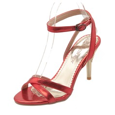 Women's PU Stiletto Heel Sandals Pumps Peep Toe Slingbacks With Buckle shoes