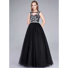 Ball-Gown Scoop Neck Floor-Length Tulle Prom Dress With Beading Sequins