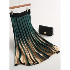 Pleated Skirts Mid-Calf Color Block Wool Skirts (1005163026)