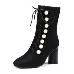 Femmes Suède Talon bottier Escarpins Bottes Bottes mi-mollets avec Perle d'imitation Dentelle Boutons chaussures