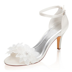 Women's Silk Like Satin Stiletto Heel Peep Toe Sandals With Buckle Flower