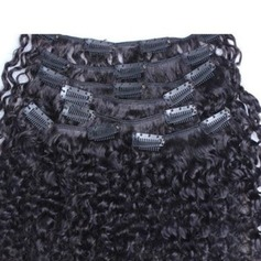 4A Non remy Kinky Curly les cheveux humains Pince pour extensions capillaires 7PCS 100 g