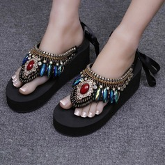 Women's Corn Bran Wedge Heel Wedges Slippers With Rhinestone shoes