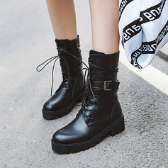Women's Leatherette Chunky Heel Ankle Boots Mid-Calf Boots Martin Boots With Buckle Lace-up shoes