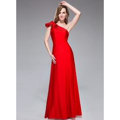 Trumpet/Mermaid One-Shoulder Floor-Length Jersey Holiday Dress With Cascading Ruffles (017042353)