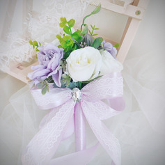 Classic Hand-tied Satin/Lace/Rhinestone/Artificial Flower Bridal Bouquets/Bridesmaid Bouquets (Sold in a single piece) - Bridal Bouquets/Bridesmaid Bouquets